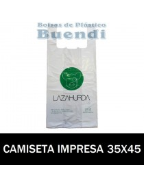 BOLSAS DE PLASTICO ASA CAMISETA IMPRESAS 35x45 G.200