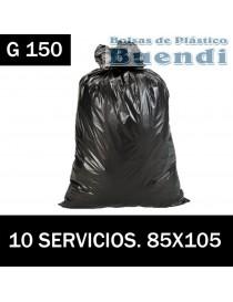 BOLSAS DE BASURA NEGRA INDUSTRIALES 85X105 10 SERV. G.150