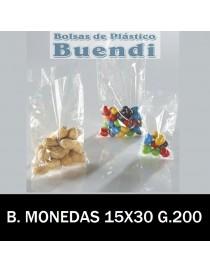BOLSAS TRANSPARENTES MONEDAS 15X30 G.200