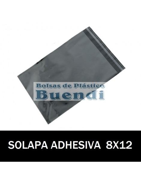 BOLSAS DE PLASTICO CON SOLAPA ADHESIVA 8X12