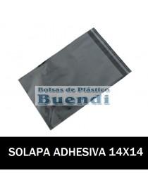 BOLSAS DE PLASTICO CON SOLAPA ADHESIVA 14X14