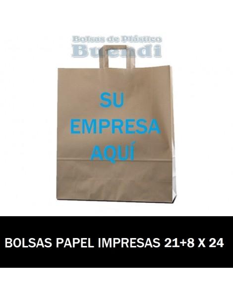 BOLSAS DE PAPEL ASA PLANA PERSONALIZADAS 21+8 X 24