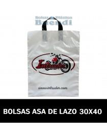 BOLSAS DE PLASTICO IMPRESAS ASA DE LAZO 30X40