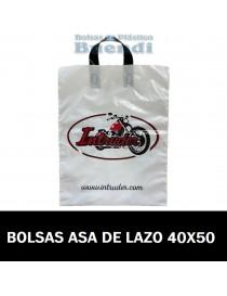BOLSAS DE PLASTICO IMPRESAS ASA DE LAZO 40X50