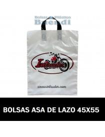 BOLSAS DE PLASTICO IMPRESAS ASA DE LAZO 45X55