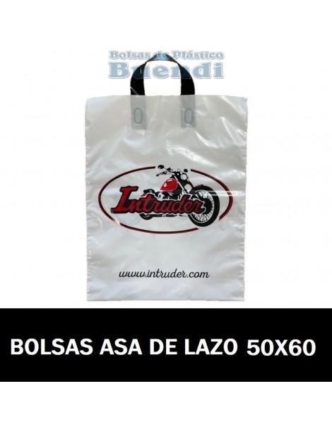 BOLSAS DE PLASTICO IMPRESAS ASA DE LAZO 50X60