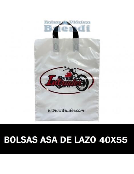 BOLSAS DE PLASTICO IMPRESAS ASA DE LAZO 40X55
