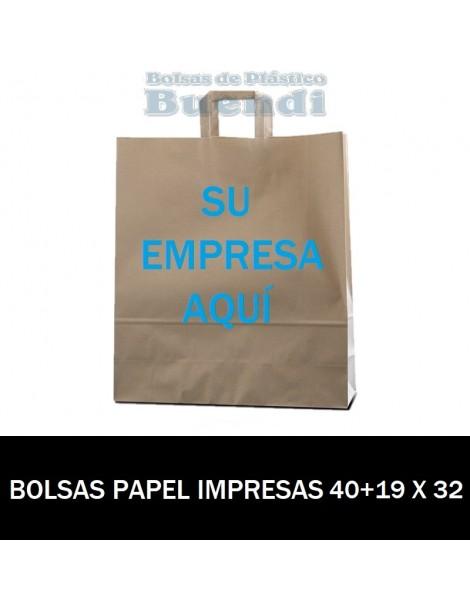 BOLSAS DE PAPEL ASA PLANA PERSONALIZADAS 40+19 X 32