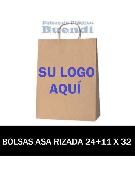 BOLSAS DE PAPEL ASA PLANA PERSONALIZADAS 24+11 X 32