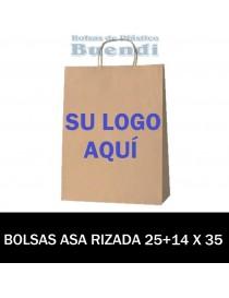 BOLSAS DE PAPEL ASA RIZADA PERSONALIZADAS 25+14 X 35