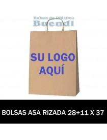 BOLSAS DE PAPEL ASA RIZADA PERSONALIZADAS 28+11 X 37