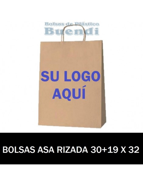 BOLSAS DE PAPEL ASA RIZADA PERSONALIZADAS 30+19 X 32