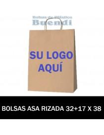 BOLSAS DE PAPEL ASA RIZADA PERSONALIZADAS 32+17 X 38