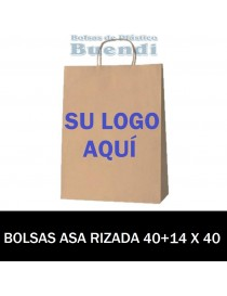 BOLSAS DE PAPEL ASA RIZADA PERSONALIZADAS 40+14 X 40