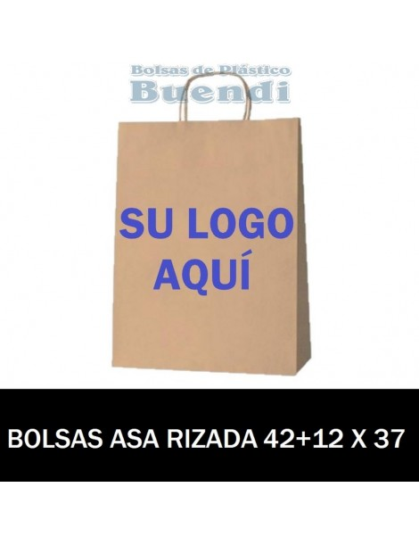 BOLSAS DE PAPEL ASA RIZADA PERSONALIZADAS 42+12 X 37