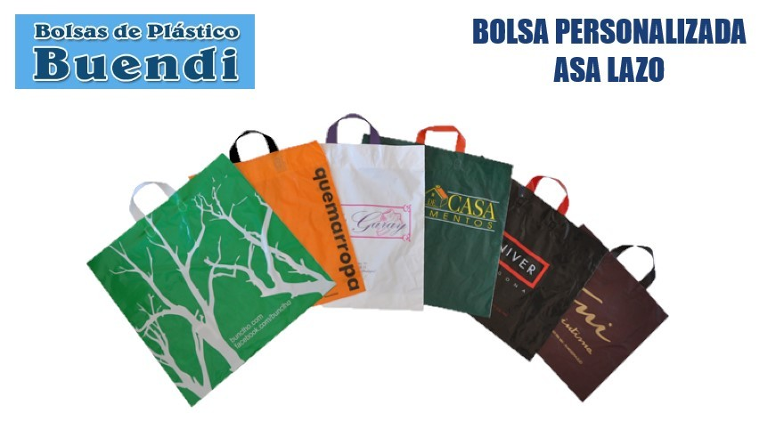 Bolsas de plastico personalizadas asa lazo
